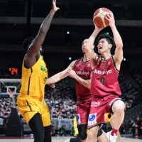 Brave Thunders guard Yuma Fujii goes up for a shot against the Brex during the All-Japan Championship final in Saitama on Saturday. | COURTESY OF THE JAPAN BASKETBALL ASSOCIATION