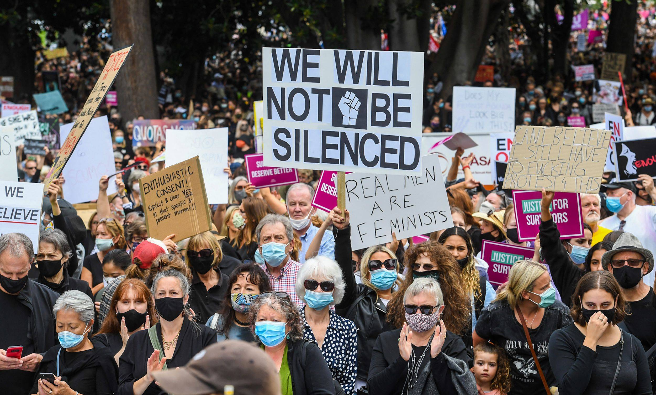 People attend a protest against sexual violence and gender inequality in Melbourne on Monday. | AFP-JIJI