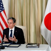 U.S. Secretary of State Antony Blinken takes part in a virtual business roundtable at the U.S. ambassador's residence in Tokyo on Tuesday.   POOL / VIA REUTERS