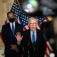 Republican Senate Minority Leader Mitch McConnell speaks during a news conference following a luncheon for Senate Republicans on Capitol Hill in Washington on Tuesday. | ANNA MONEYMAKER / THE NEW YORK TIMES