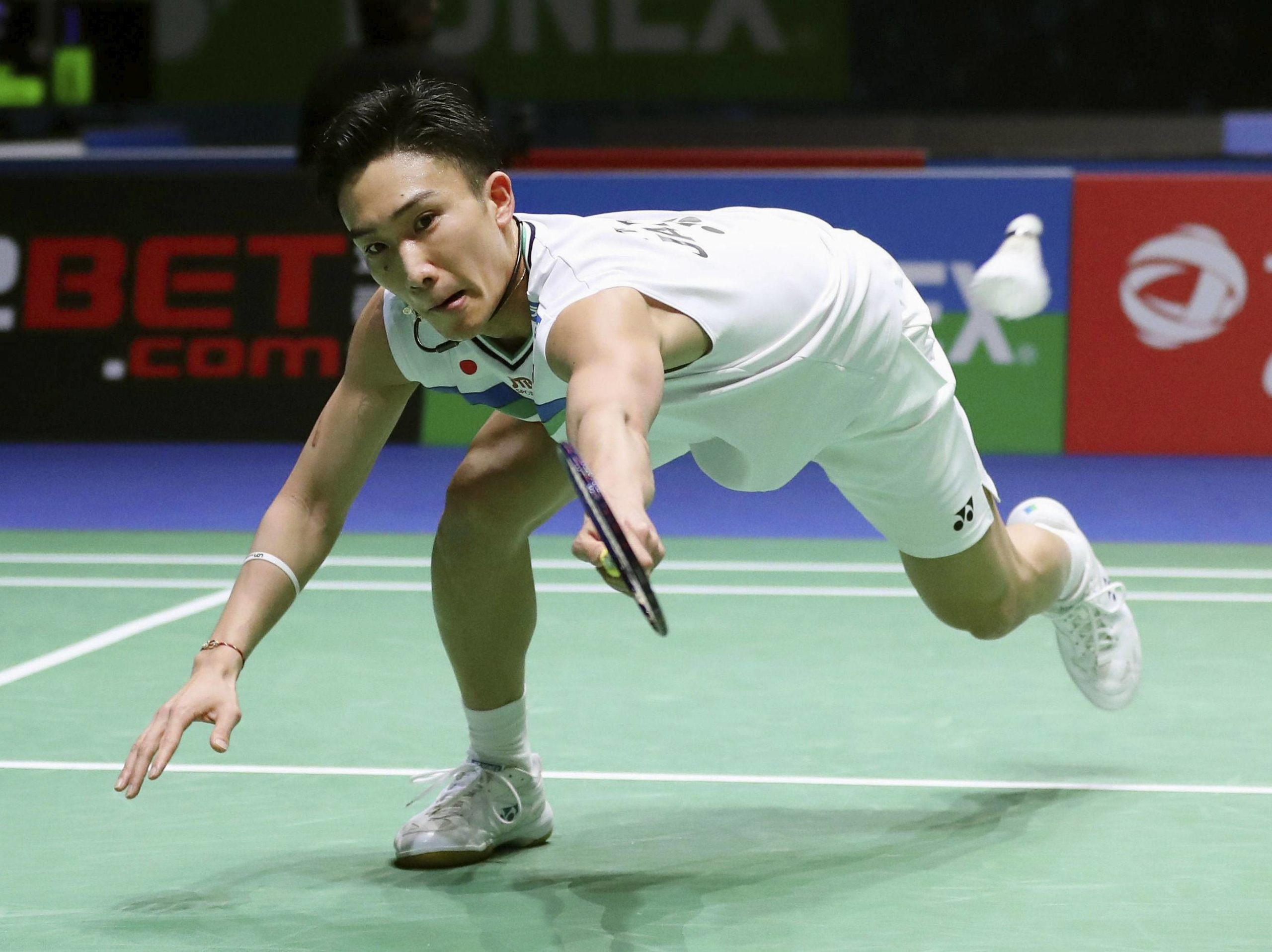 Kento Momota competes during the first round of the All England Open in Birmingham, England, on Wednesday. | GETTY / VIA KYODO