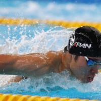 Kosuke Hagino competes during the men's 400-meter individual medley heats at the Asian Games in Jakarta on Aug. 22, 2018. | REUTERS