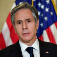 U.S. Secretary of State Antony Blinken addresses the media following the closed-door morning talks between the United States and China upon conclusion of their two days of meetings in Anchorage, Alaska, on Friday. | POOL / VIA REUTERS