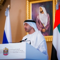 UAE Foreign Minister Abdullah bin Zayed speaks during a news conference in Abu Dhabi on March 9.  | UAE MINISTRY OF PRESIDENTIAL AFFAIRS / VIA AFP-JIJI