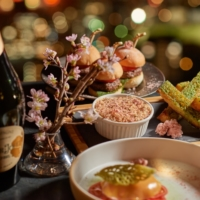 The Rooftop Bar offers Perrier-Jouet Champagne by the glass or free-flowing, accompanied by sakura-inspired snacks, draft beer, wine and soft drinks.