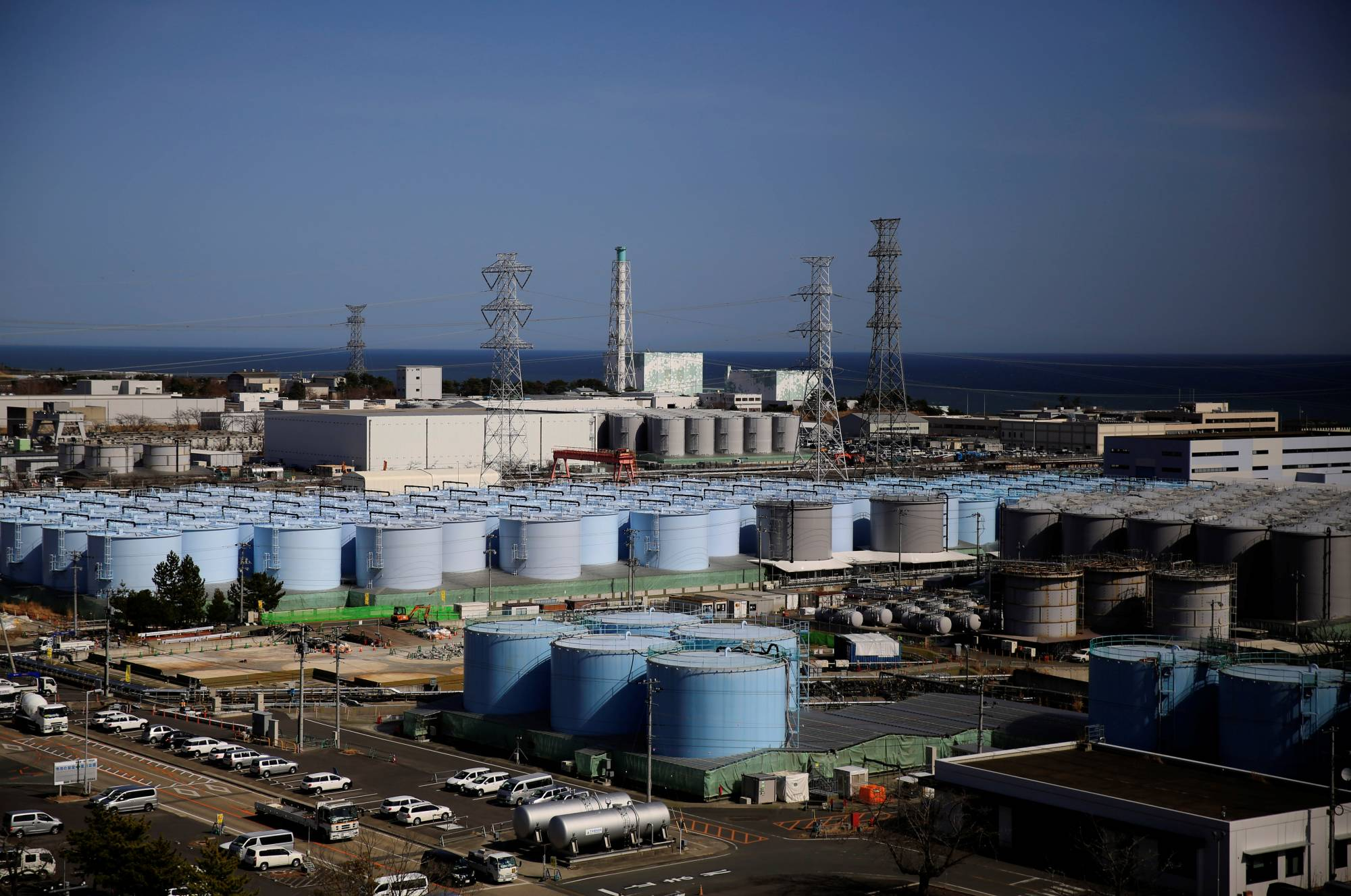 Storage tanks for treated water at the Fukushima No. 1 nuclear power plant in Okuma town, Fukushima prefecture, on March 1 | REUTERS