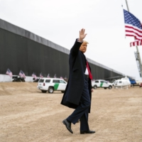 U.S. President Donald Trump at the border wall with Mexico near Alama, Texas, on Jan. 12. Recent news media declines in viewership and readership can be attributed to a falloff from a contentious election season, but they also underline the harsh economic realities facing outlets. | DOUG MILLS / THE NEW YORK TIMES