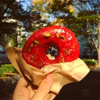 Do-good doughnuts: You can find vegan doughnuts (such as this raspberry-pistachio treat) at The Little Bakery Tokyo in Jingumae.   CHIARA TERZUOLO