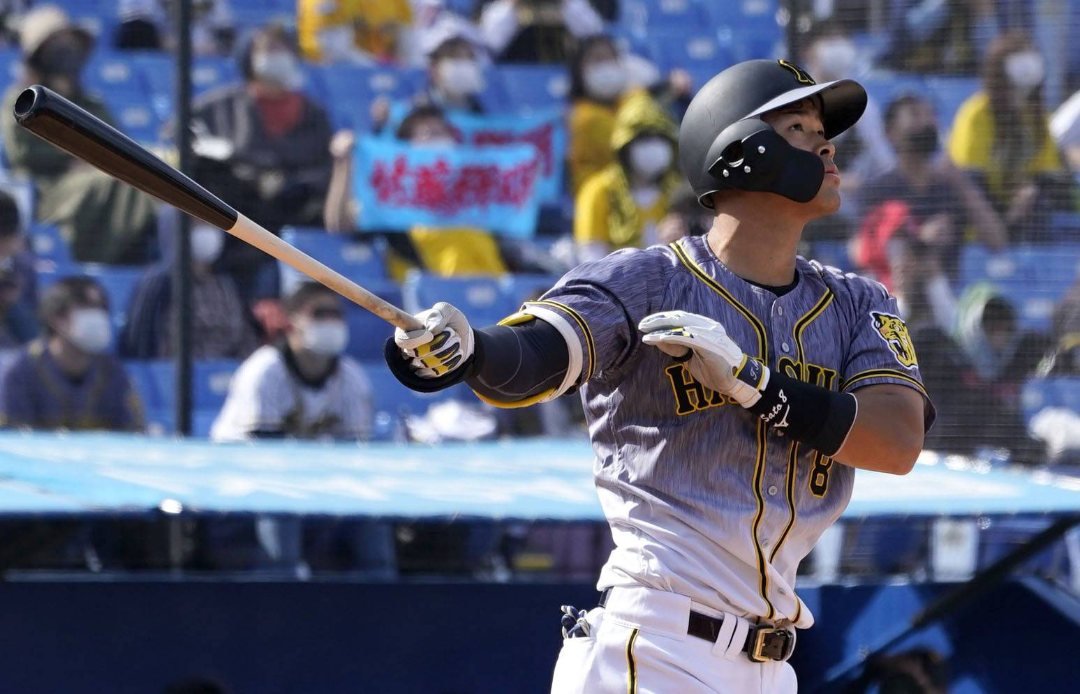 The Tigers' Teruaki Sato homers against the Swallows during the fourth inning at Jingu Stadium on March 16. | KYODO