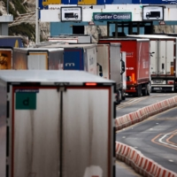 Vehicles queue at border control at the port of Dover after the end of the Brexit transition period, in Dover, Britain, on Jan. 15. Uncertainty over the post-Brexit situation has reduced Japanese firms' presence in the country. | REUTERS
