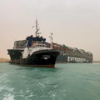 The Ever Given container ship, which was hit by strong wind and ran aground, in the Suez Canal, Egypt, on Wednesday | SUEZ CANAL AUTHORITY / VIA REUTERS