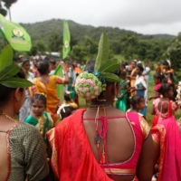 Adivasi tribe members during a celebration on the occasion of International Day of the World's Indigenous People, in a forest in Mumbai, in August last year.  | REUTERS