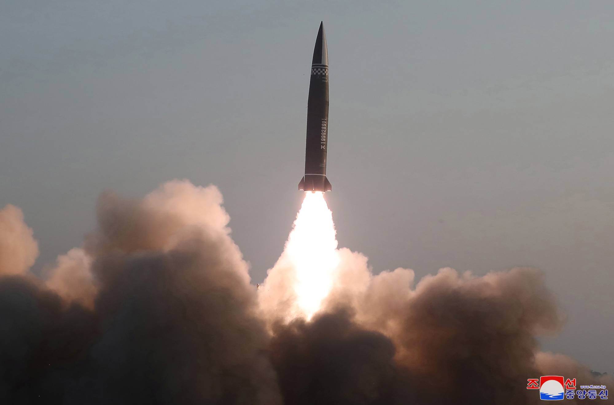 A possible situation involving North Korea, which reportedly launched a new type of tactical guided missile on Thursday, is one of the scenarios for which the SDF's potential deployment must be discussed. | KCNA / VIA REUTERS