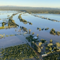 Flooding is seen around the Royal Australian Air Force Base in Richmond on the northwestern outskirts of Sydney on Wednesday. | AUSTRALIAN DEFENCE FORCE / VIA AFP-JIJI