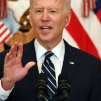 U.S. President Joe Biden answers a question during his first news conference, in the East Room of the White House in Washington on Thursday. AFP-JIJI | AFP-JIJI