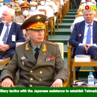 Russian Deputy Defense Minister Alexander Fomin attends an annual parade put on by the Myanmar military to mark Armed Forces Day in the capital, Naypyidaw, in a screenshot taken from Myawaddy TV on Saturday. | MYAWADDY TV / VIA AFP-JIJI