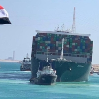 The Ever Given, one of the world's largest containerships, is finally on the move after it was fully floated in the Suez Canal in Egypt on Monday. | SUEZ CANAL AUTHORITY / VIA REUTERS