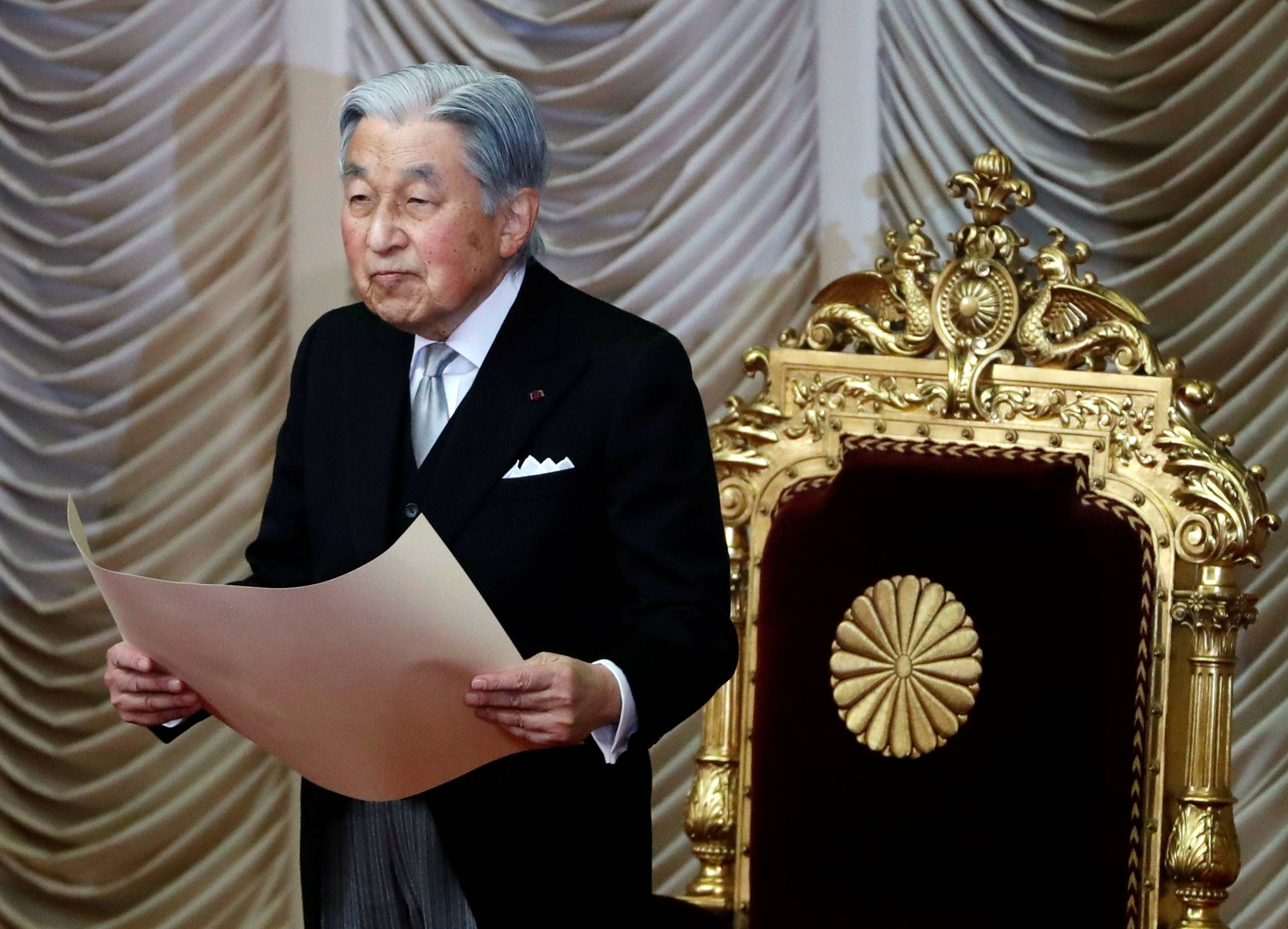 Emperor Akihito declares the opening of an ordinary session of parliament in Tokyo in January 2019. South Korea decided ahead of its president's 1990 Japan visit to call for a stronger apology from the emperor than given by his predecessor for the 1910-1945 colonization of the Korean Peninsula, according to diplomatic records declassified in Seoul on Monday. | REUTERS