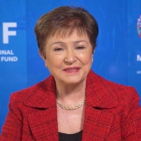 International Monetary Fund chief Kristalina Georgieva speaks during an online interview Tuesday. | KYODO