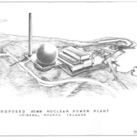 An artist's rendering in a 1960 U.S. government report shows a planned nuclear power plant in Okinawa Prefecture. | THE OKINAWA TIMES