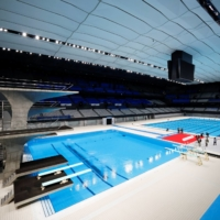 The FINA Diving World Cup is scheduled to take place later this month at Tokyo Aquatics Center. | REUTERS
