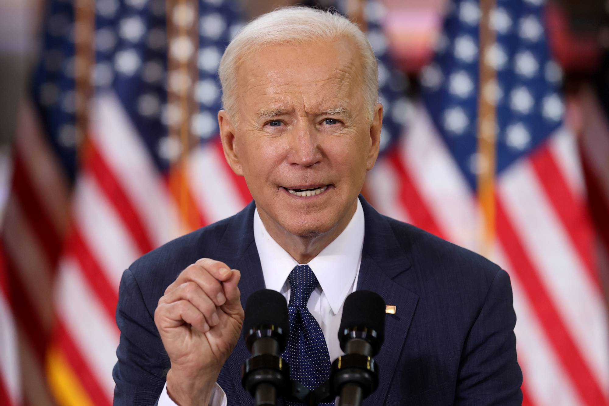 U.S. President Joe Biden gives a speech on his $2 trillion infrastructure plan during an event in Pittsburgh on March 31.  | REUTERS