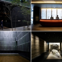 The entrance (top left), reception desk (top right), hallway into a dining room (bottom left) and outdoor hot spring bath at the flagship Hoshinoya Tokyo hotel. | BLOOMBERG
