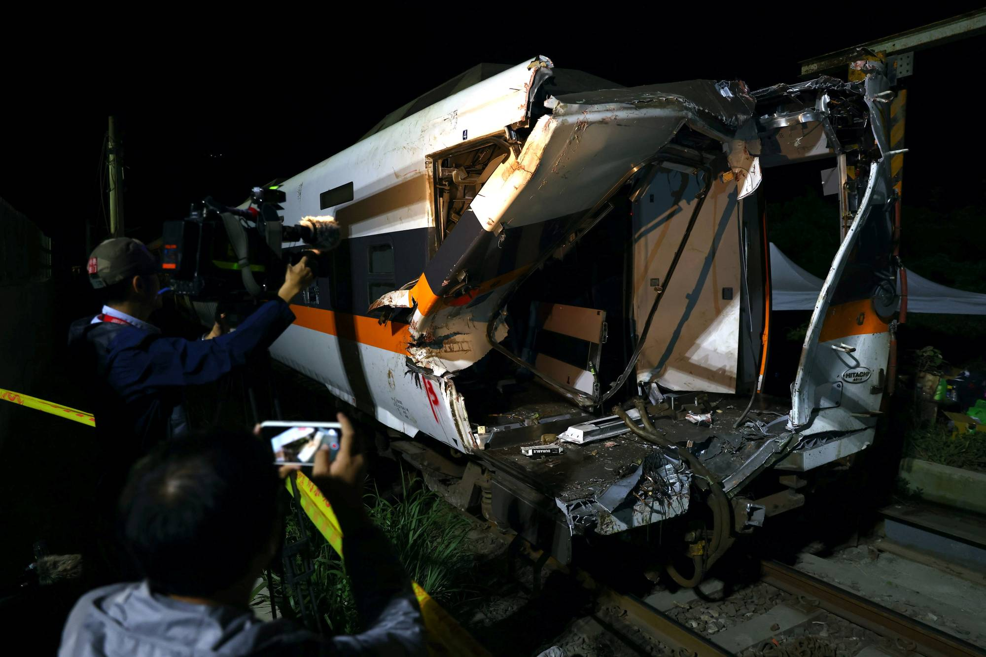 A damaged train carriage at the accident site on Sunday | REUTERS