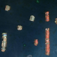 Chinese vessels anchored at the Whitsun Reef, around 320 kilometers west of Bataraza in Palawan in the South China Sea, on March 23 | SATELLITE IMAGE ©2021 MAXAR TECHNOLOGIES / VIA AFP-JIJI