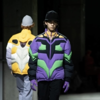 Film-focused fashion: Jun Takahashi's latest runway line for Undercover features some not-so-subtle references to the anime series 'Neon Genesis Evangelion.' | ©️ KHARA