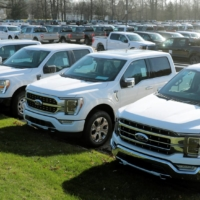 Newly manufactured Ford Motor Co. F-150 trucks are seen waiting for missing parts in Dearborn, Michigan. | REUTERS
