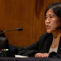 Katherine Tai, then a nominee for U.S. Trade Representative, speaks at the Senate Finance Committee hearing at the U.S. Capitol on Feb. 25.   POOL / VIA REUTERS