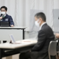 Gov. Hirofumi Yoshimura speaks during a prefectural panel meeting on the coronavirus in Osaka on Wednesday. | KYODO