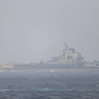 The Chinese aircraft carrier Liaoning sails through the Miyako Strait near Okinawa on Sunday. | JOINT STAFF OFFICE OF THE DEFENSE MINISTRY OF JAPAN / VIA REUTERS