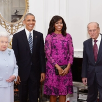 Queen Elizabeth II and the Duke of Edinburgh, with then U.S. President  Barack Obama and  his wife, Michelle, at Windsor Castle ahead of a private lunch in 2016. | REUTERS