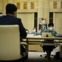 'New cases are emerging at an increasing rate in the capital,' warned Tokyo Gov. Yuriko Koike during a meeting at the Tokyo Metropolitan Government building on Thursday. | RYUSEI TAKAHASHI
