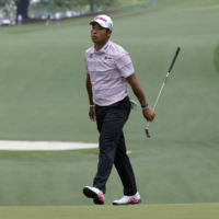 Hideki Matsuyama reacts after a missed putt on the 10th green during the second round of the Masters on Friday.  | REUTERS