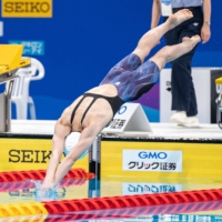 Rikako Ikee competes in the women's 50m freestyle final on Saturday. | AFP-JIJI