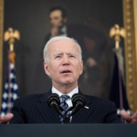 U.S. President Joe Biden speaks from the State Dining Room at the White House in Washington on April 6. The U.S. argued for an investment program to rival China's Belt and Road global infrastructure initiative, an idea that President Joe Biden is weighing with Prime Minister Yoshihide Suga. | AFP-JIJI