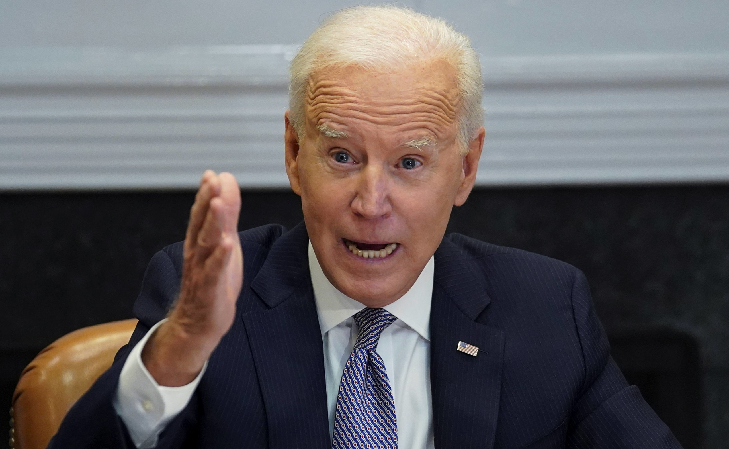 U.S. President Joe Biden participates in a virtual summit on the semiconductor supply chain from the White House in Washington on Monday. | REUTERS