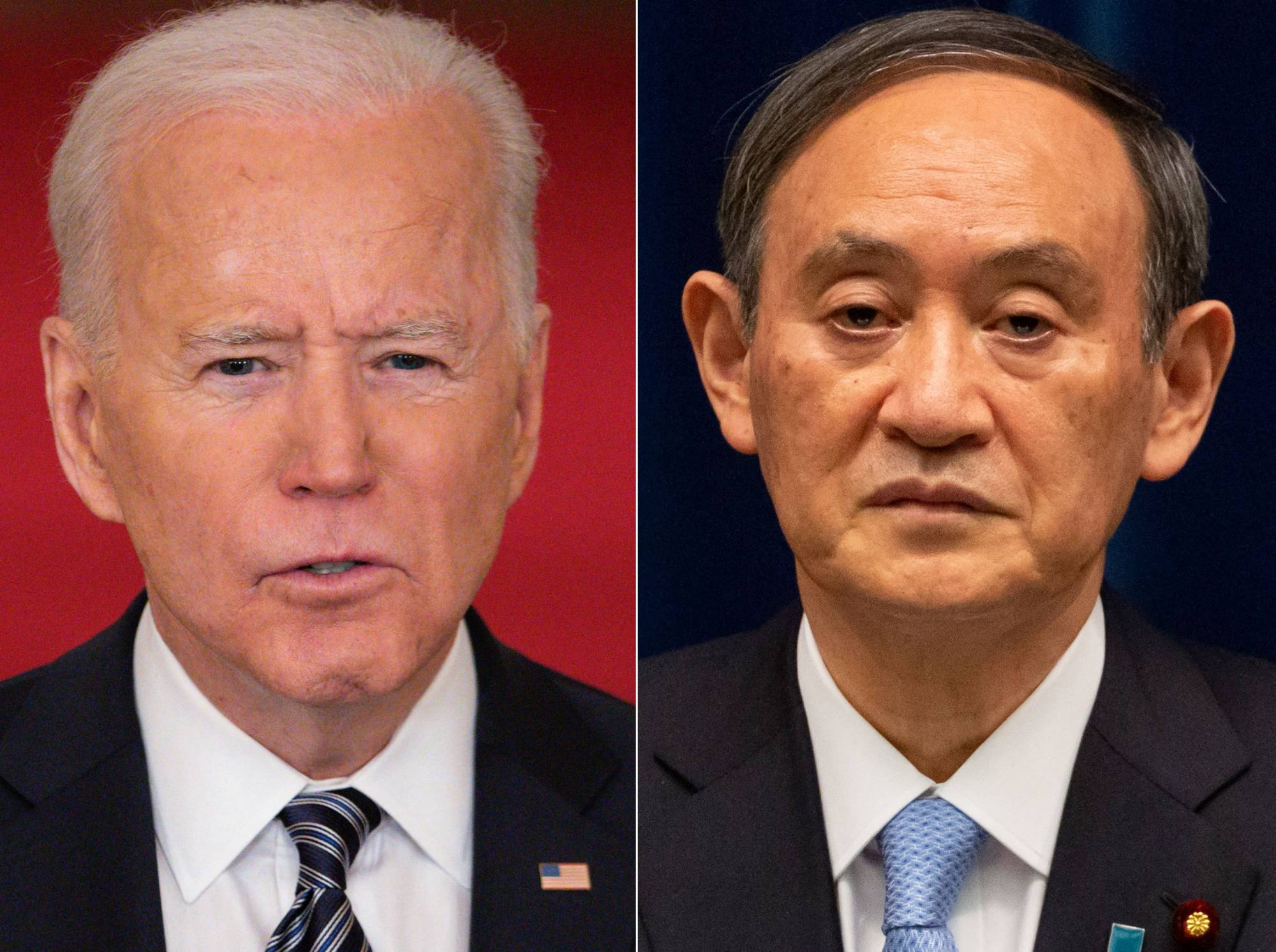 U.S. President Joe Biden will host Prime Minister Yoshihide Suga in Washington on Friday. Suga will be the first foreign leader received at the White House by Biden, who so far has held only virtual meetings with top government officials from other countries. | AFP-JIJI