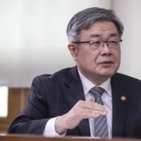 Lee Jae-kap, South Korea's minister of employment and labor, speaks during an interview at the ministry's office in Seoul on Tuesday.  | BLOOMBERG