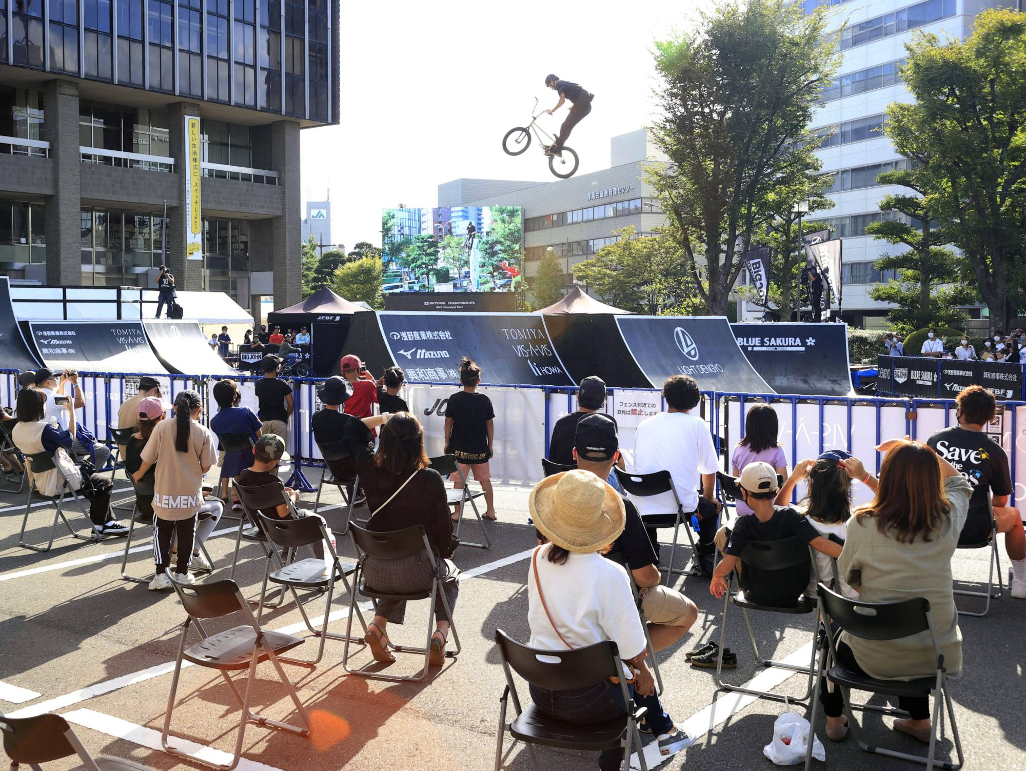 Only 100 fans are admitted to the BMX freestyle park national championships in September to watch the event within the city hall complex in Okayama amid worries over COVID-19. | KYODO