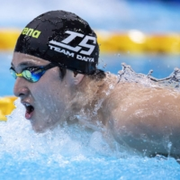 Daiya Seto competes in the 400-meter IM final during the national swimming championships at the Tokyo Aquatics Centre in Tokyo on April 3. | AFP-JIJI