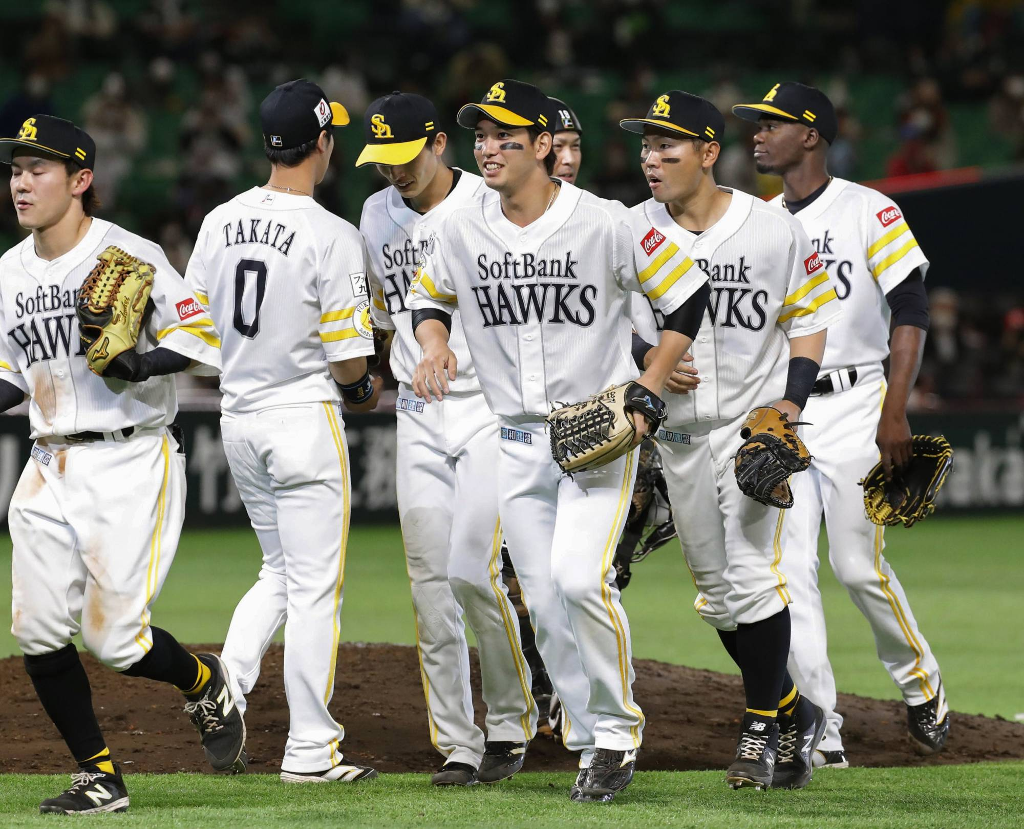The Hawks celebrate after their win over the Buffaloes on Thursday in Fukuoka.    KYODO