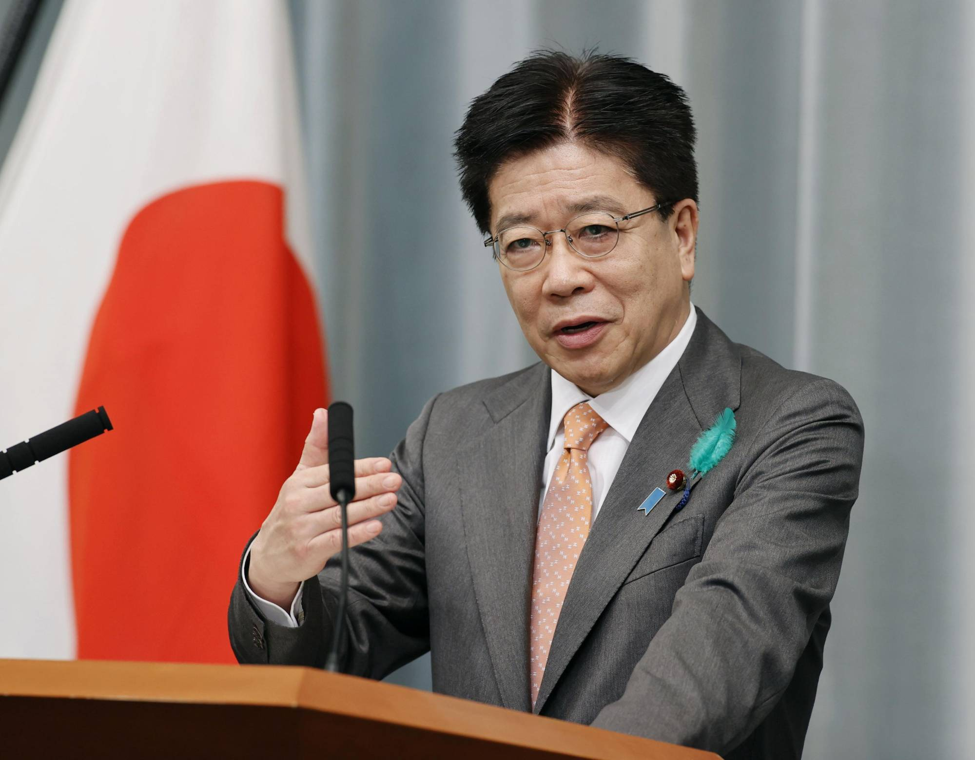 Chief Cabinet Secretary Katsunobu Kato speaks at a news conference on Friday at the Prime Minister's Office. | KYODO
