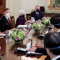 U.S. President Joe Biden holds an expanded bilateral meeting with Prime Minister Yoshihide Suga at the White House in Washington on Friday. | REUTERS