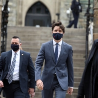 Canadian Prime Minister Justin Trudeau on his way to a news conference in Ottawa on Friday.  | AFP-JIJI