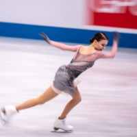 Russia's Anna Shcherbakova competes in the women's free skate during the ISU World Team Trophy event in Osaka on Saturday. | AFP-JIJI