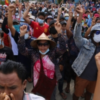 Protesters demonstrate against the military coup in Dawei, Myanmar, on Thursday. | DAWEI WATCH / VIA AFP-JIJI